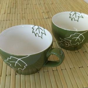 2 Starbucks Green Leaf cups